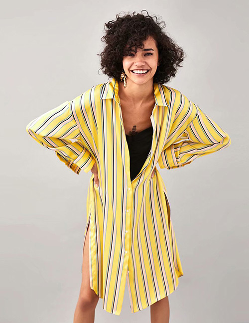 Fashion Yellow Stripe Pattern Decorated Long Shirt