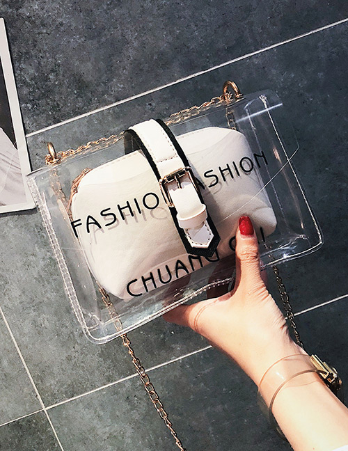 Fashion White Letter Pattern Decorated Transparent Bag