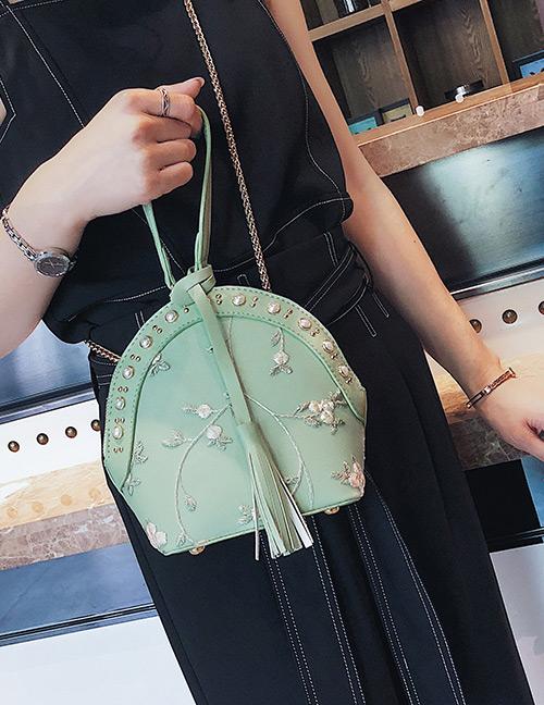 Fashion Green Flowers Pattern Design Shell Shape Bag