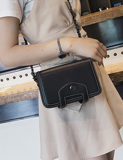 Fashion Black Pure Color Design Square Shape Shoulder Bag