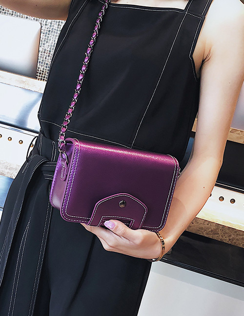 Fashion Purple Pure Color Design Square Shape Shoulder Bag