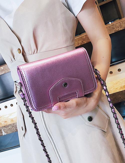 Fashion Pink Pure Color Design Square Shape Shoulder Bag
