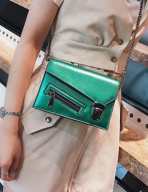 Fashion Green Zipper Decorated Pure Color Shoulder Bag