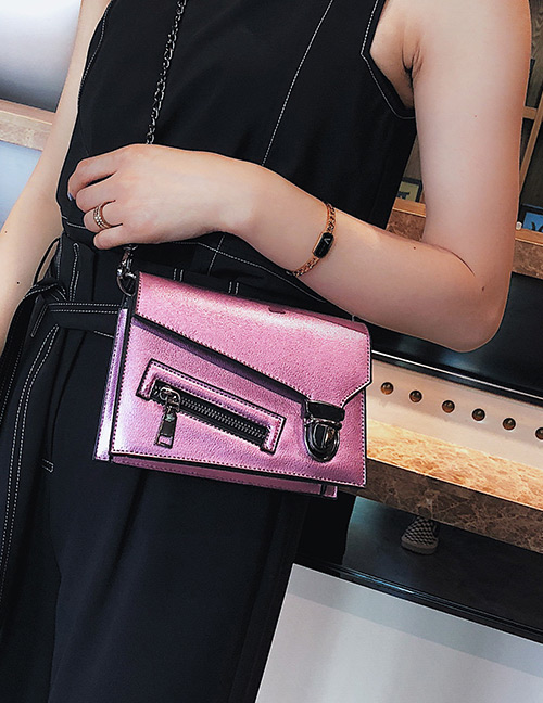 Fashion Pink Zipper Decorated Pure Color Shoulder Bag