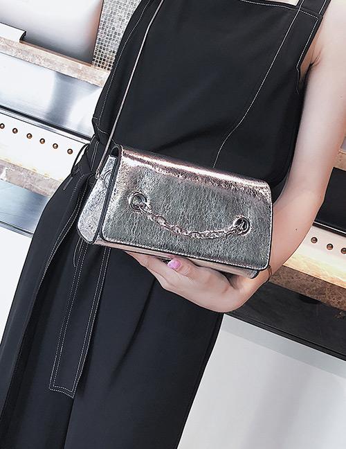 Fashion Silver Color Chain Decorated Pure Color Shoulder Bag