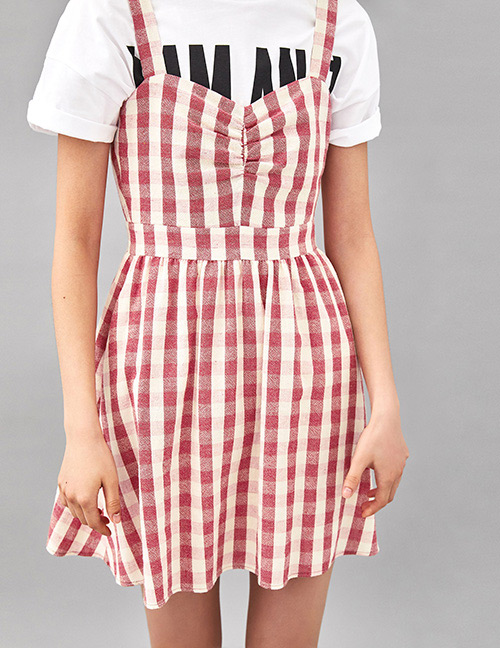 Fashion Red Grid Pattern Decorated Dress