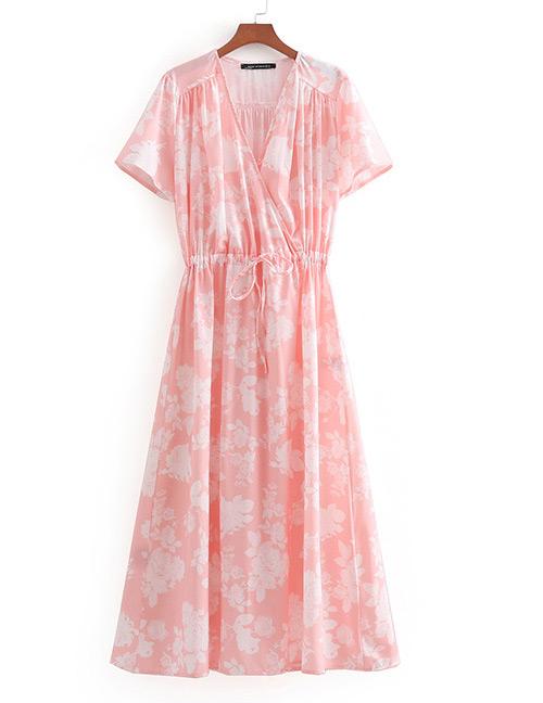 Fashion Pink Flower Pattern Decorated V Neckline Dress