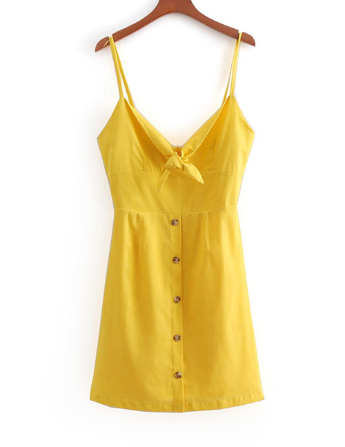 Fashion Yellow Pure Color Decorated Suspender Dress