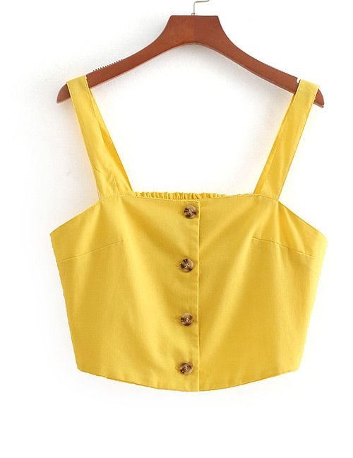 Fashion Yellow Pure Color Decorated Vest