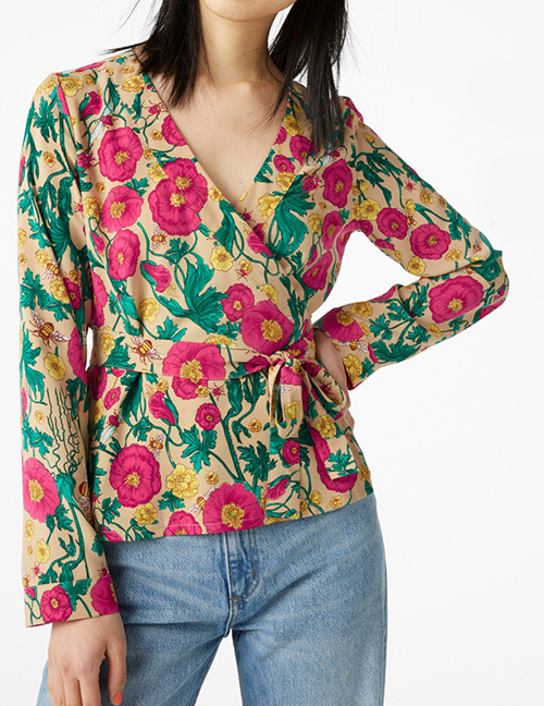 Fashion Multi-color Flower Pattern Decorated Long Sleeves Blouse