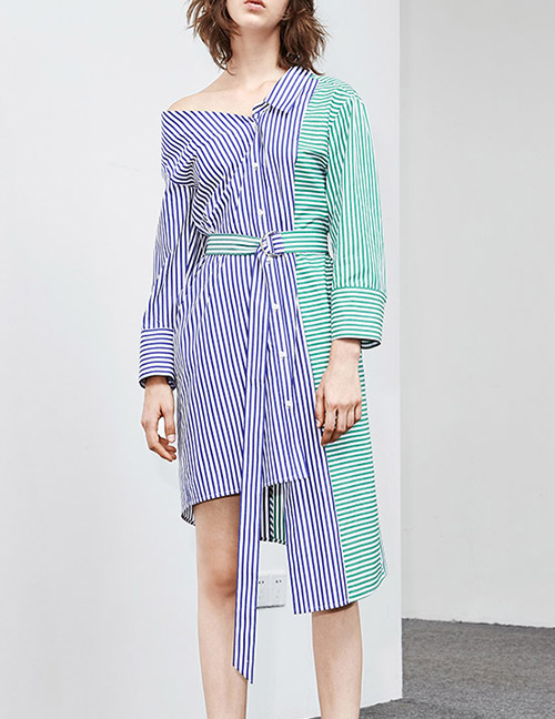 Fashion Blue+green Stripe Pattern Decorated Dress