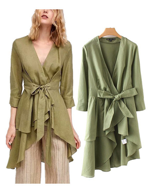 Fashion Green Bowknot Shape Decorated Pure Color Shirt