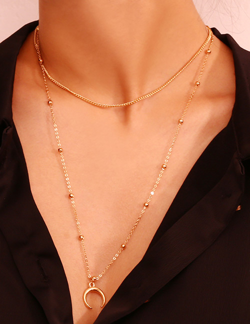 Elegant Gold Color Moon Pendant Decorated Double Layer Necklace