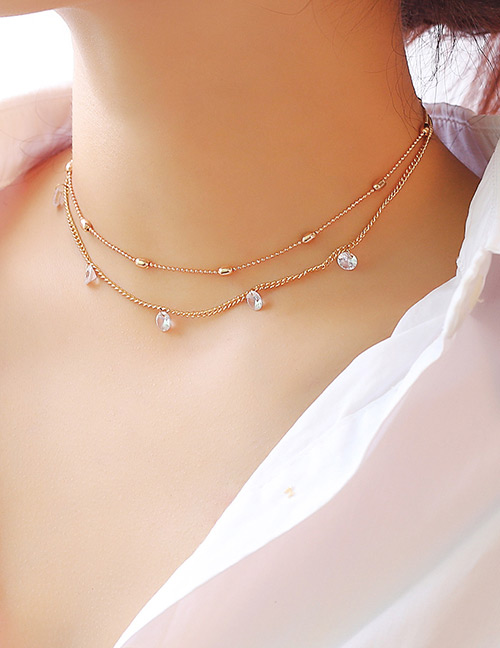 Elegant Gold Color Diamond Decorated Double Layer Necklace