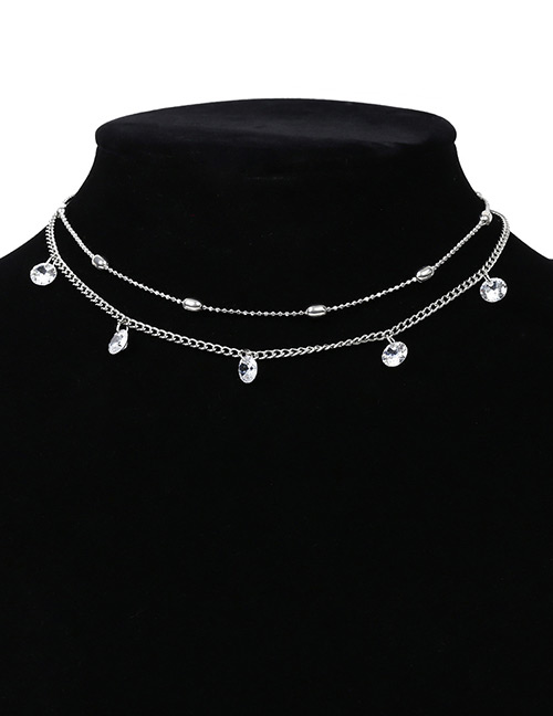 Elegant Silver Color Diamond Decorated Double Layer Necklace