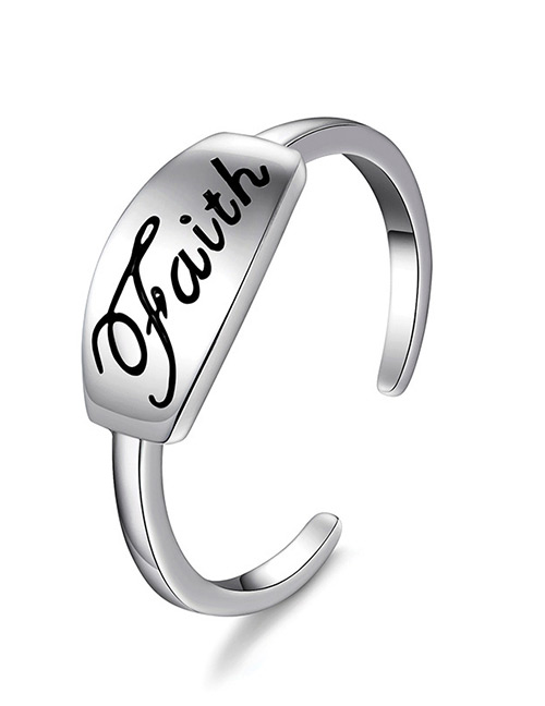 Elegant Silver Color Letter Pattern Decorated Opening Ring