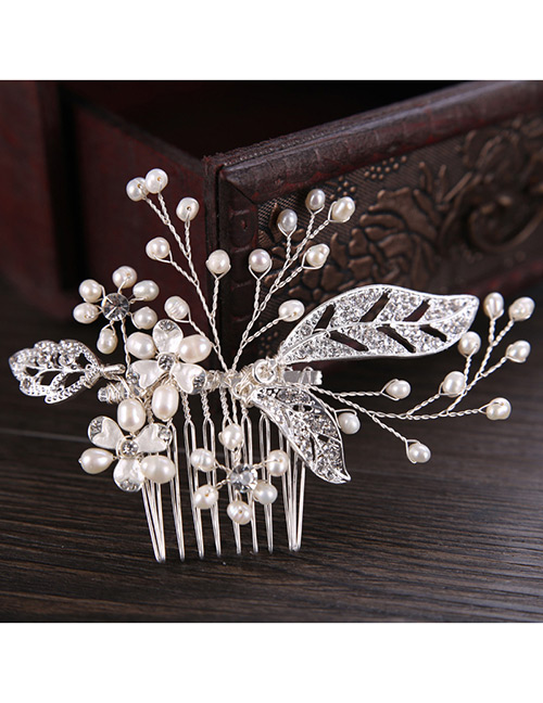 Elegant Silver Color Leaf&pearls Decorated Hair Comb