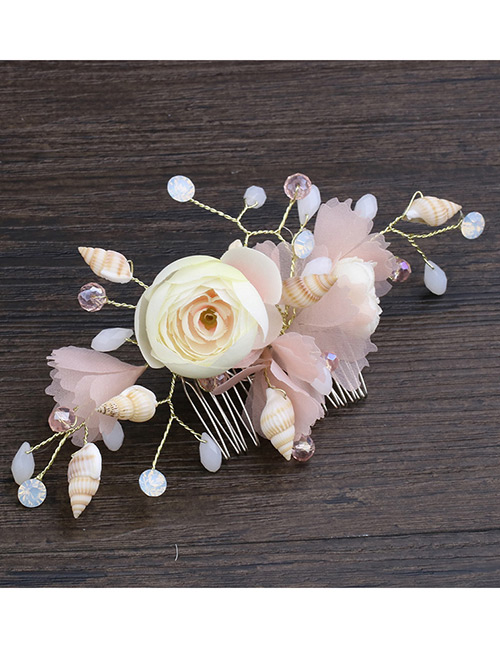 Elegant Multi-color Conch&flowers Decorated Hair Comb