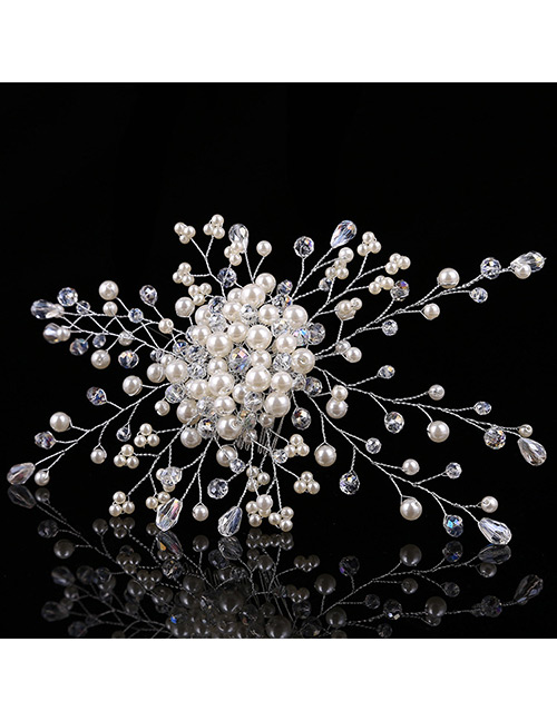 Elegant Silver Color Pearls&diamond Decorated Hair Comb