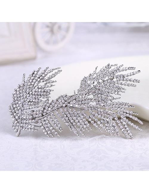 Elegant Silver Color Full Diamond Design Leaf Shape Hair Comb
