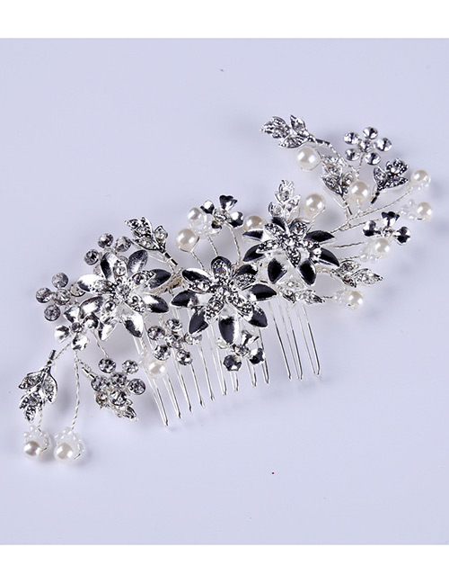 Elegant Silver Color Pearls&flowers Decorated Pure Color Hair Comb