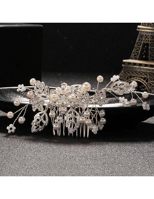 Elegant Silver Color Leaf&diamond Decorated Hair Comb