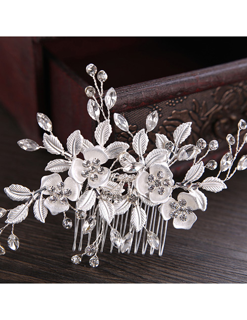 Elegant Silver Color Leaf&flowers Decorated Hair Comb