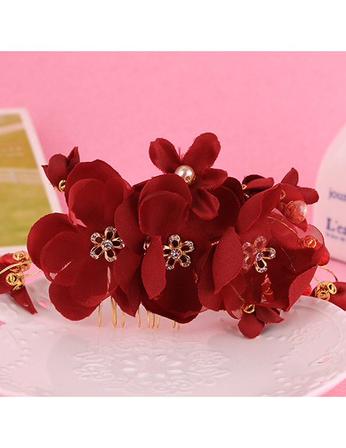 Elegant Red Flowers Decorated Pure Color Hair Comb