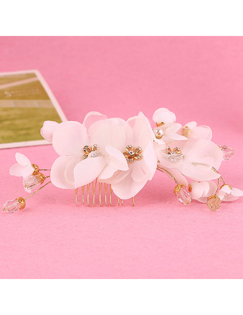 Elegant White Diamond&flowers Decorated Hair Comb