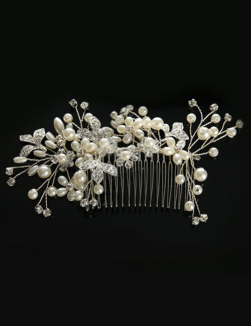 Elegant Silver Color Pearls&leaf Decorated Pure Color Hair Comb
