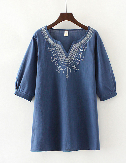 Vintage Navy V Neckline Design Short Sleeves Blouse