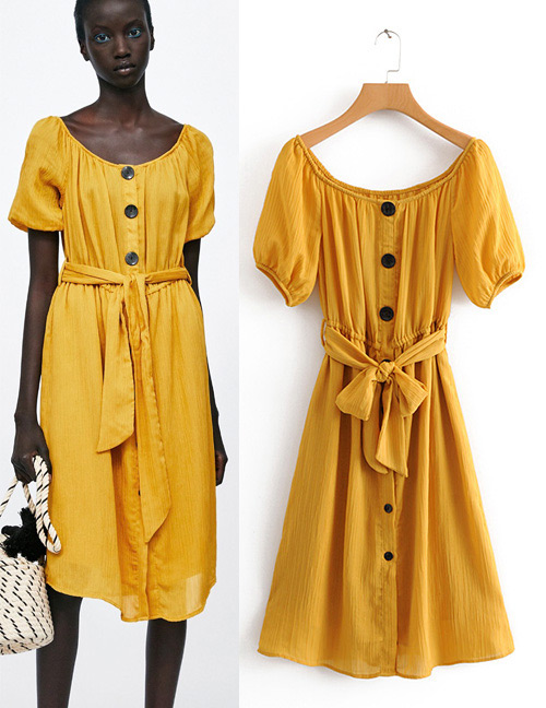 Vintage Yellow Pure Color Design Short Sleeves Dress