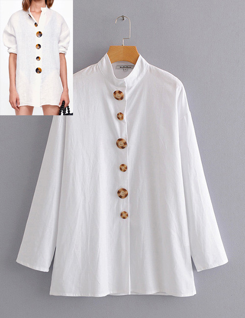 Vintage White Pure Color Design Long Sleeves Shirt
