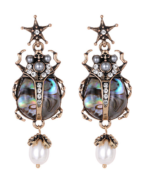 Elegant Multi-color Gemstone Decorated Insect Shape Earrings
