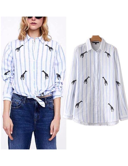 Fashion White Stripe Pattern Decorated Shirt