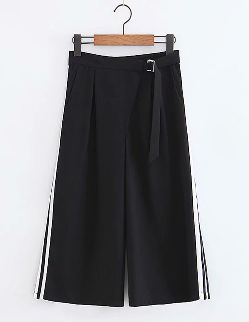 Fashion Black+white Color-matching Decorated Pants