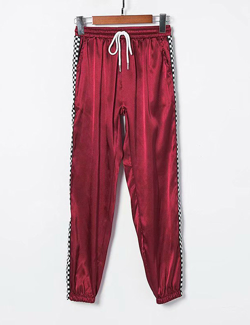 Fashion Claret Red Grid Pattern Decorated Pants