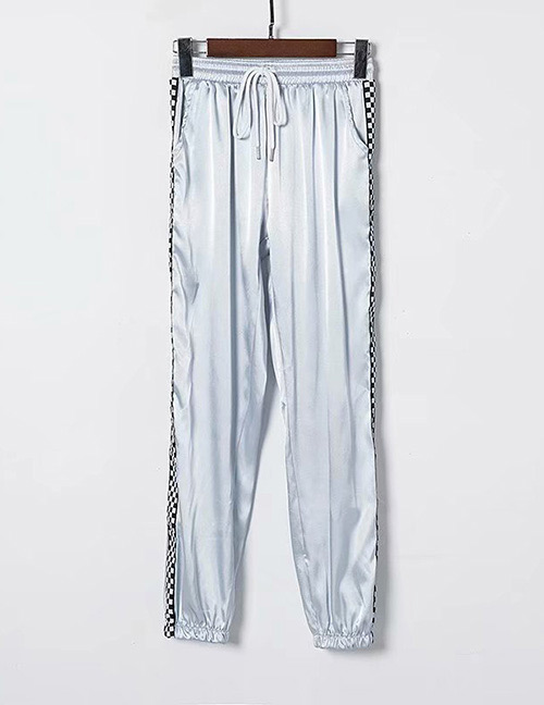 Fashion Gray Grid Pattern Decorated Pants