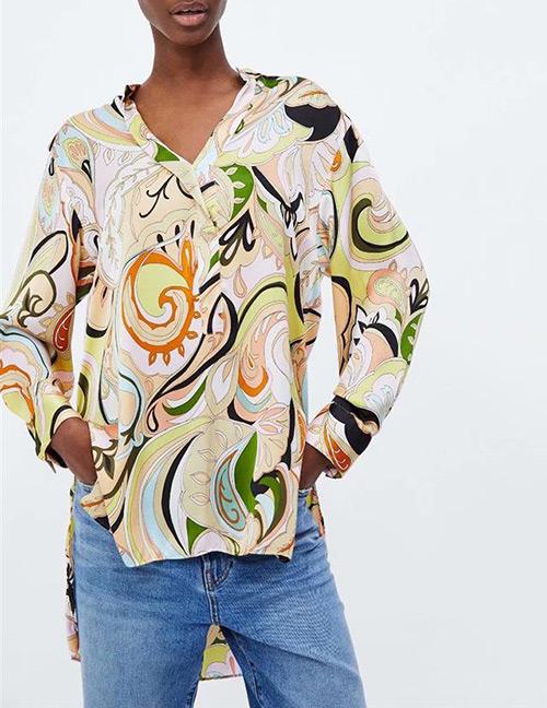 Fashion Multi-color V Neckline Design Flower Pattern Blouse