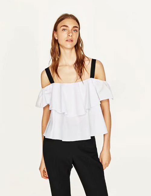 Fashion White Off-the-shoulder Design Suspender Blouse