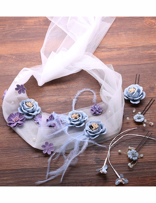 Fashion Blue+purple Flower Shape Decorated Hair Accessories Set