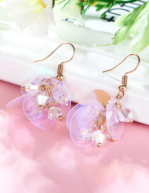Fashion Purple Paillette Decorated Earrings