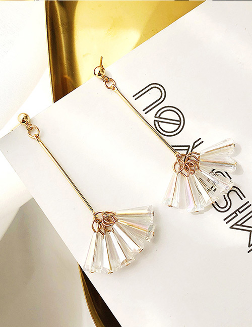 Fashion White Sector Shape Decorated Earrings