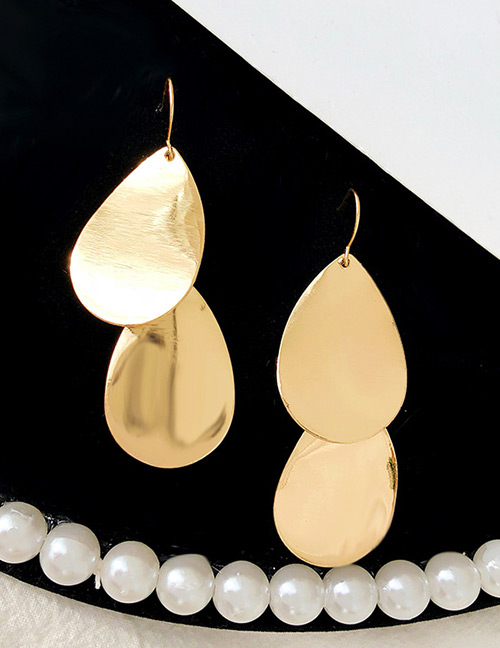 Fashion Gold Color Waterdrop Shape Design Pure Color Earrings