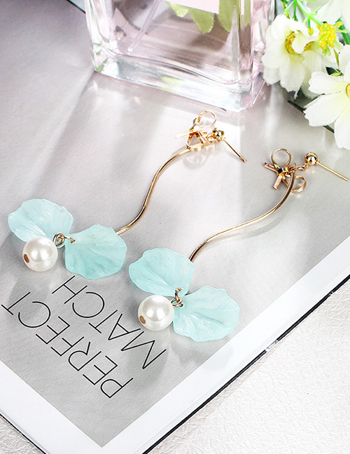 Fashion Blue Petal Decorated Tassel Earrings