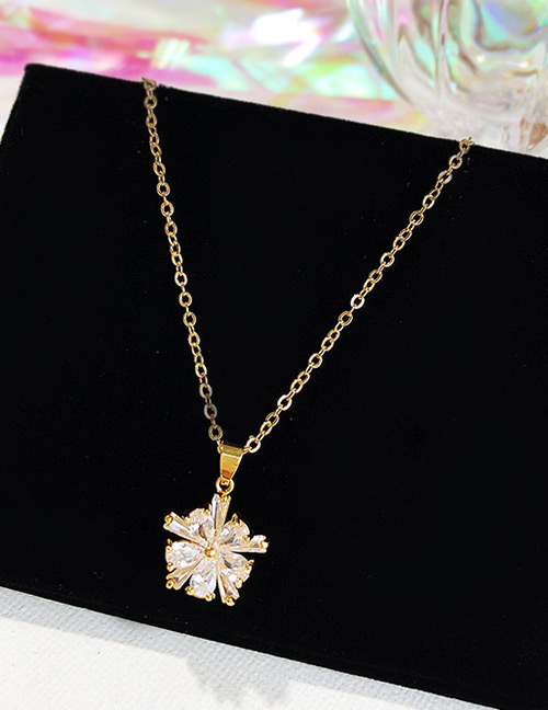 Fashion Gold Color Flower Shape Decorated Pure Color Necklace