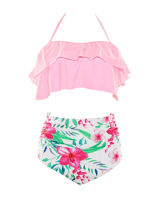 Sexy Pink+white Off-the-shoulder Design Flower Pattern Decorated Swimwear(2pcs)