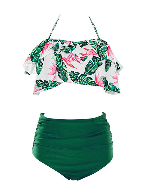 Sexy Green+white Off-the-shoulder Design Leaf Pattern Decorated Swimwear(2pcs)