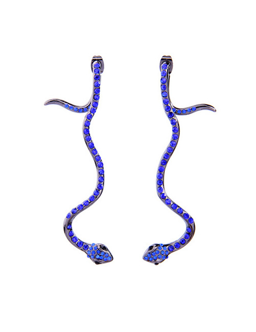 Fashion Blue Snake Shape Decorated Earrings