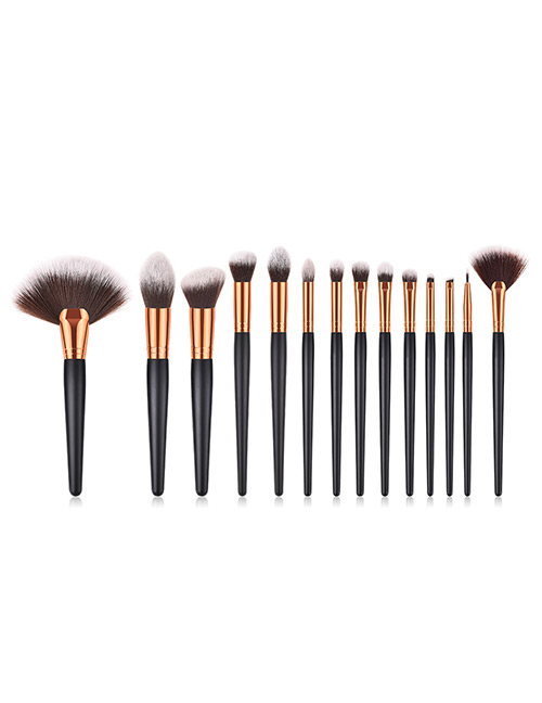 Fashion Black Round Shape Decorated Makeup Brush(14 Pcs)